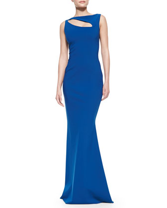 Sleeveless Angled Cutout Gown, Ottanio