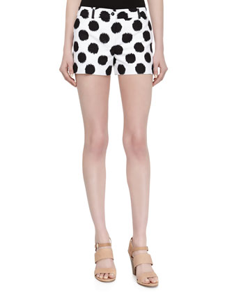 Dotted Ikat Print Shorts, Black/Optic White