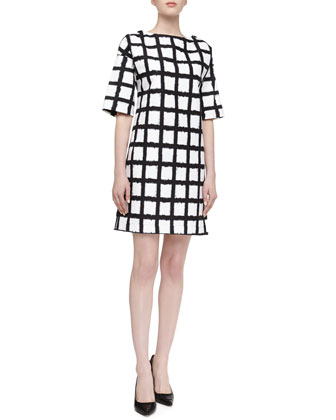 Windowpane Checked Boxy Dress, Black/Optic White