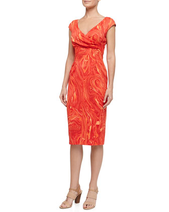 Cross-Front Marble Print Charmeuse Dress, Coral