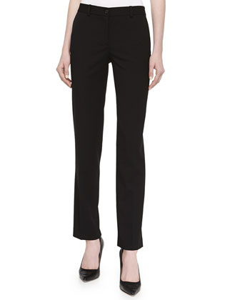 Tapered Gabardine Suiting Pants, Black