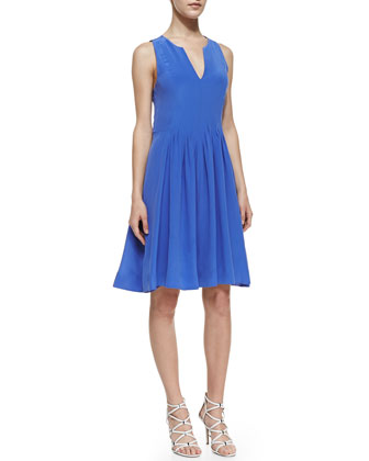 Sleeveless Silk Pintuck Dress