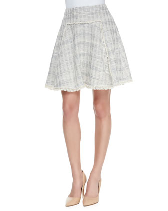 Studded Sheer-Sleeve Jersey Top & Diamond-Pattern Fringe-Trim Tweed Skirt