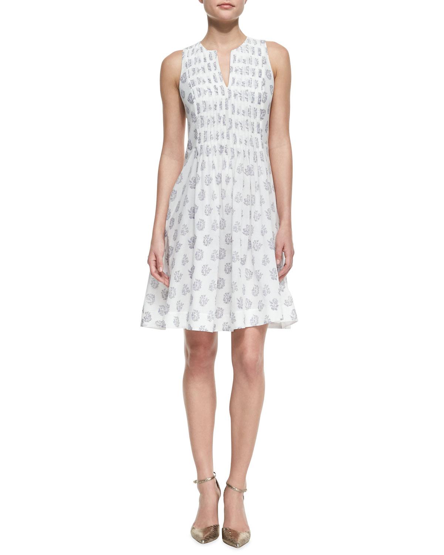 Womens Floral Print Cotton Voile Dress   Rebecca Taylor   Sea salt (0)