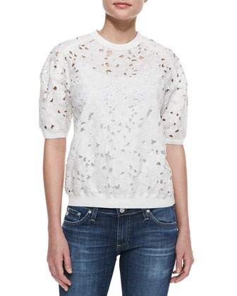 Floral-Embroidered Short-Sleeve Top