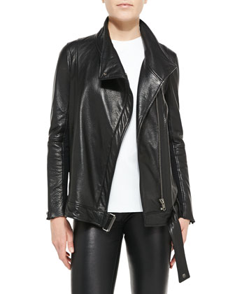 Cluster Oversized Leather Moto Jacket