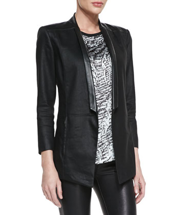 Printed/Solid Cap-Sleeve Top & Glossy Leather-Lapel Twill Blazer