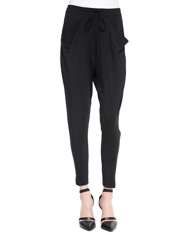 Womens Draped Jersey Tie Waist Pants   Helmut Lang   Black (LARGE)