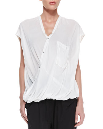 Lush Voile Draped Asymmetric Blouse