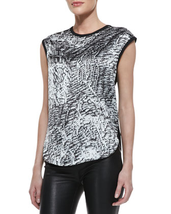 Printed/Solid Cap-Sleeve Top