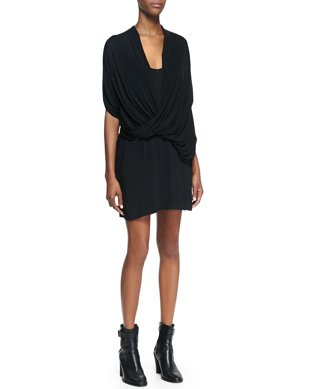 Womens Draped Jersey Overlap Dress   Helmut Lang   Black (PETITE)