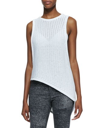 Corded Sleeveless Asymmetric Sweater Tank, Split-Strap Sports Bra & ...