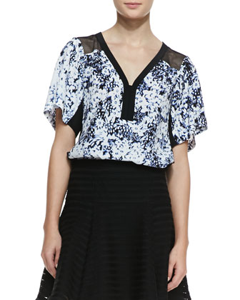 Til You Drop Floral-Print Top & Paradise Sheer-Stripe Flounce Skirt