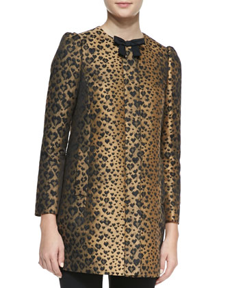 Bow-Neck Heart Leopard-Print Topper Coat, Toffee/Black