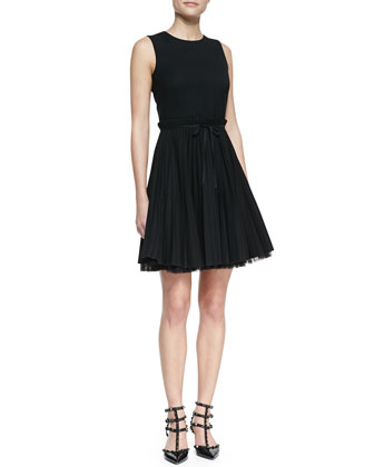 Sleeveless Accordion-Pleated Dress, Black