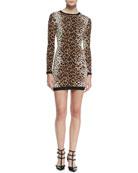 Long-Sleeve Heart Leopard-Print Sweaterdress, Toffee/Black