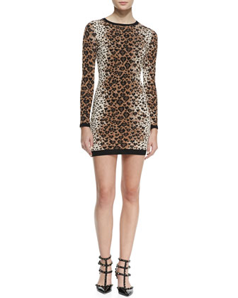 Long-Sleeve Heart Leopard-Print Sweaterdress, Toffee/Black