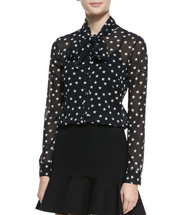 Star-Print Tie-Neck Blouse
