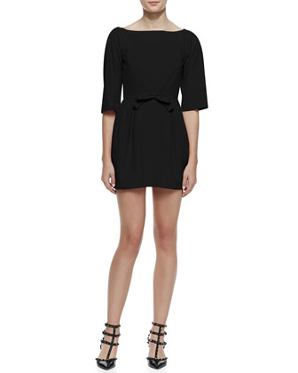 3/4-Sleeve Bow-Waist Dress with V'd Back, Black