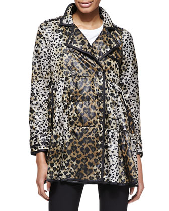 Skirted Heart-Leopard-Print Anorak, Cotton Jersey Tee with Point d'Esprit & ...