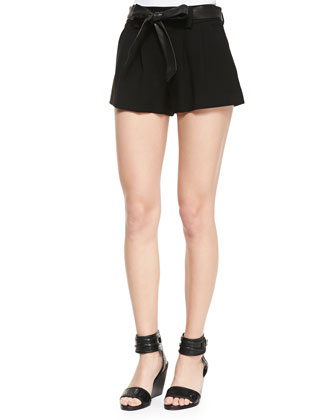 Flutter Shorts with Leather Tie Belt