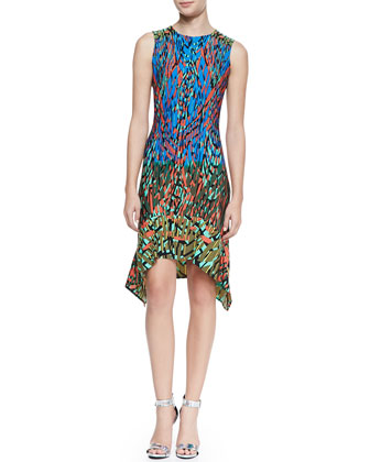 Jenica Sleeveless Handkerchief-Hem Dress, Multicolor