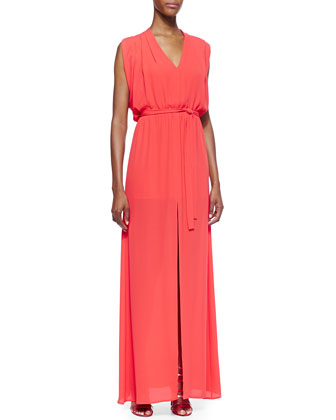 Plunge-Neck Tie Waist Gown, Bright Poppy