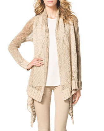 Draped Rib-Trim Open Cardigan