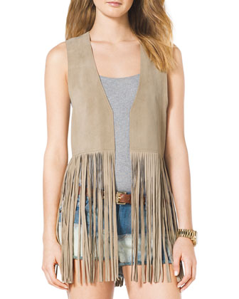 Leather Fringe Vest, Ribbed Tank & Mixed-Denim Cutoff Shorts