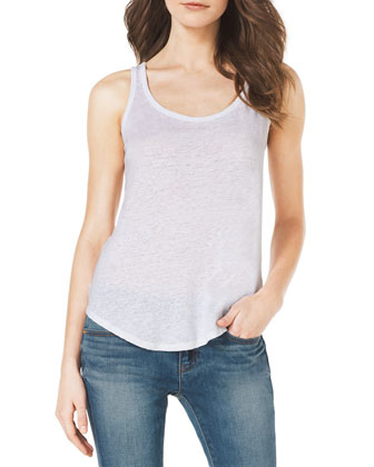 Sleeveless Slub Tank & Faded Denim Skinny Jeans