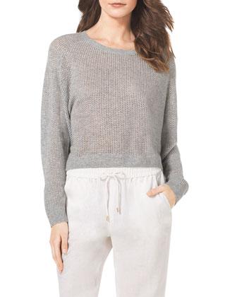 Cropped Waffle-Knit Cashmere Sweater