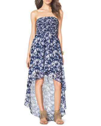 Smock-Bodice Strapless Maxi Dress