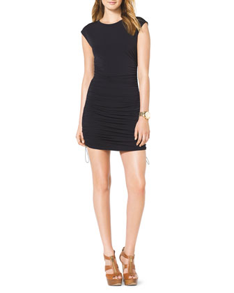 Drawstring-Side Ruched Dress
