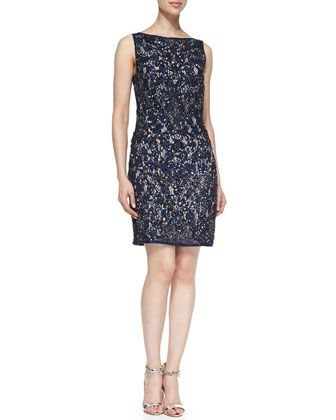 Sleeveless Sequined Lace Cocktail Dress