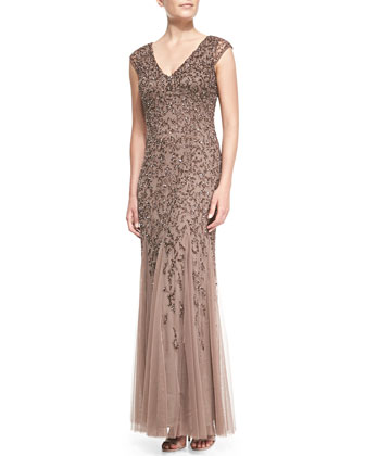 Cap-Sleeve Beaded Gown with Tulle Skirt, Mink