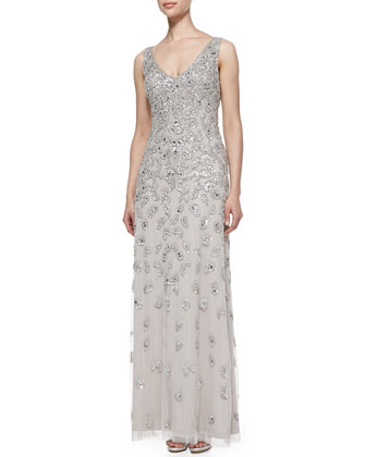 Sleeveless Patterned Sequined Gown
