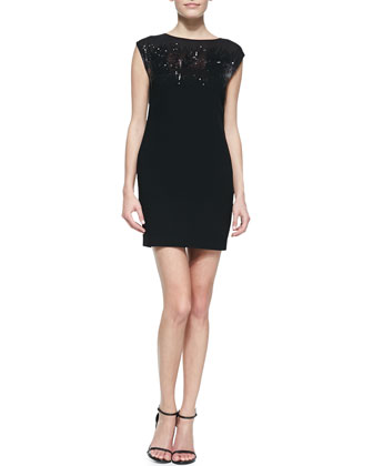 Sequin-Top Fitted Jersey Dress