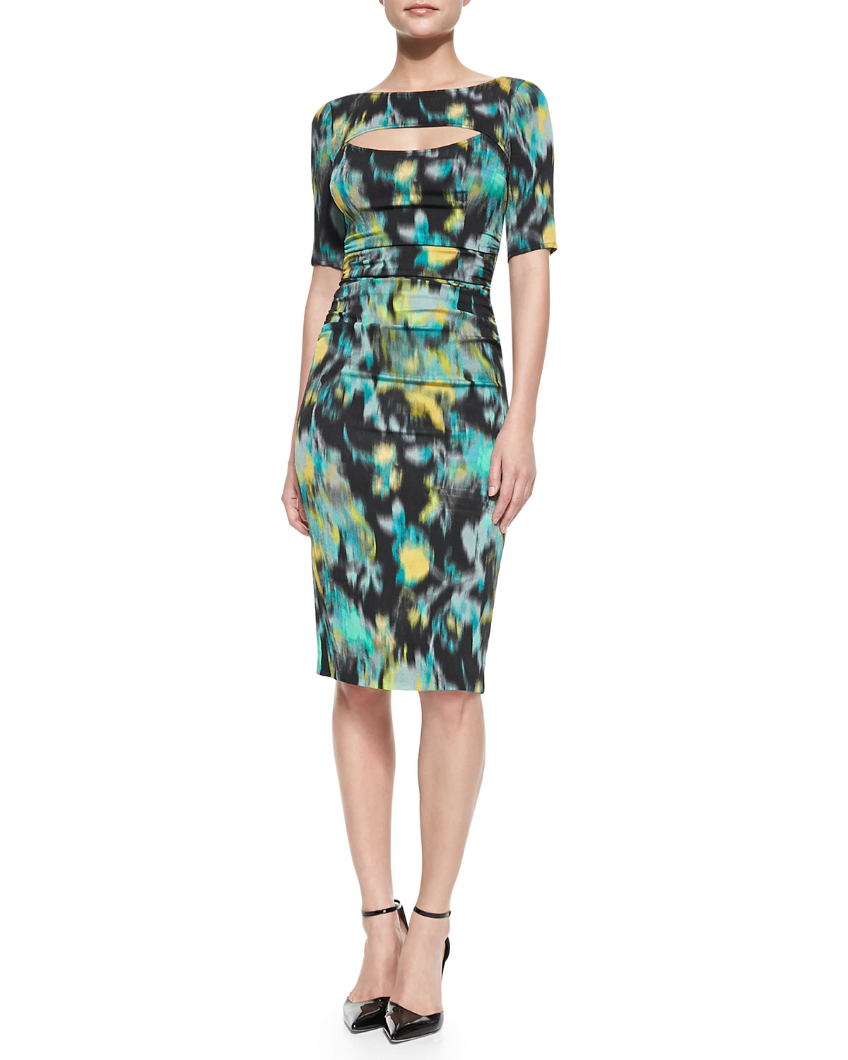 1/2-Sleeve Floral Warp-Print Peek-A-Boo Sheath Dress