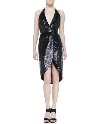 Halter style sequin dress