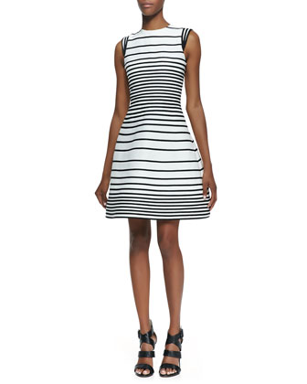 A-Line Striped Dress With Cap Sleeves