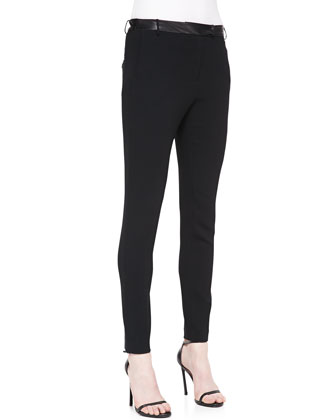 Leather-Waist Slim Crepe Pants