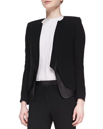 Leather/Crepe Long-Sleeve Blazer, Lace-Back High-Neck Top & Leather-Waist ...