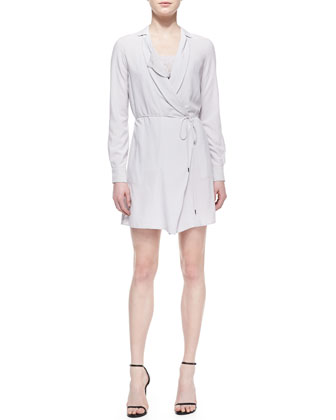 Long-Sleeve Tie-Waist Shirtdress