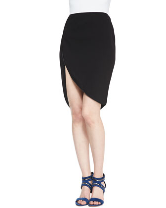 Colorblock Boxy Georgette Top & Trimmed Cutaway Pencil Skirt