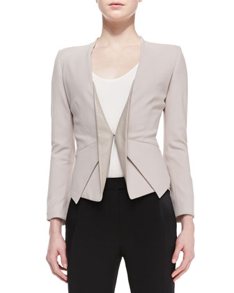Long-Sleeve Blazer w/ Leather Lapels