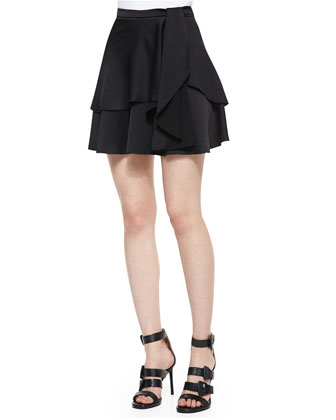 Boat-Neck Mesh/Slub Top & Tiered Skirt w/ Drape Detail