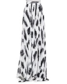 Shannon Pleated Brush-Print Maxi Skirt