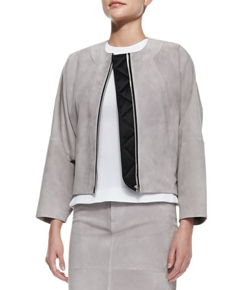 Suede Bomber Jacket, Jewel-Neck Seamed Shell & Suede Pencil Skirt