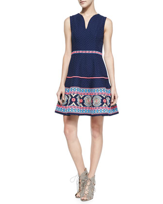 Sleeveless Embroidered-Hem Dress