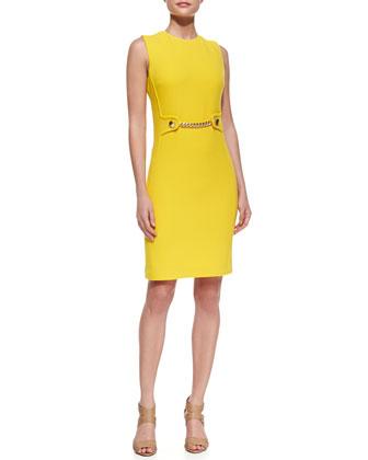Chain-Front Crepe Sheath Dress, Sun